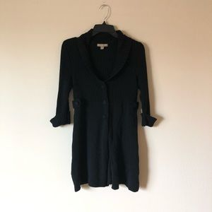 Black Button up Quarter Sleeve Sweater Cardigan
